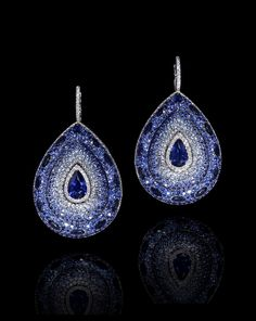 LEVIEV Sapphire and White Diamond Earrings totaling 26.65 carats, handcrafted in platinum.