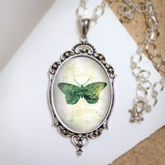 Green Butterfly Necklace  Silver Pendant  Jackie by feverbloom, $40.00