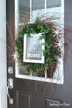 """Add easy curb appeal to your home with this DIY Boxwood Wreath with Framed Chalkboard Printable - """"WInter is a Time for Home""""! All Things Christmas, Christmas Crafts, Christmas Decorations, Christmas Ideas, Xmas, Holiday Ideas, Merry Christmas, Holiday 2014, Christmas Holiday"""