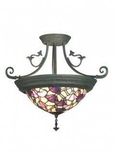 Dale Tiffany Ceiling Lights Pink Floral 4 Light Semi Flush Mount - TH10965