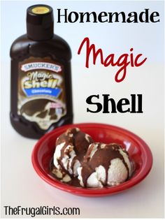 Homemade Magic Shell Recipe! ~ from TheFrugalGirls.com ~ just 2 ingredients to make this Magic Shell, and you've got yourself such a delicious and fun desert treat! #recipes #thefrugalgirls