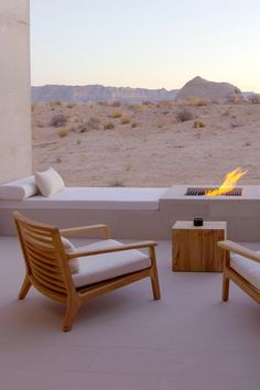 Get up close and personal with the desert from your outdoor lounge and… Outdoor Lounge, Outdoor Spaces, Outdoor Living, Outdoor Decor, Patio Interior, Interior And Exterior, Amangiri Utah, Amangiri Hotel, Architectural Digest