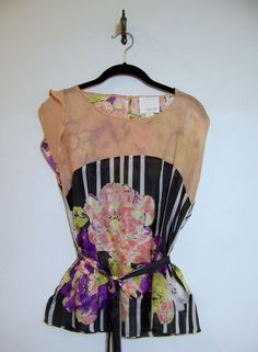 Anthropologie ARYN K. Silk Blouse Top Shirt Sz XS ~ Tie Waist Cap Sleeve  #ArynK #TunicPullover