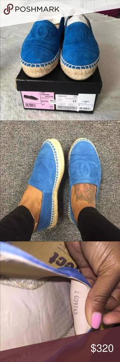 CHANEL Espadrilles Blue suede ChANEL Espadrilles  100% authentic  NO TRADES *worn a few times  If you want to negotiate on the price or you have other questions txt me 678.810.2432 CHANEL Shoes Espadrilles