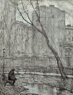 """Glazunov, Rain,1970 year Illustration for F. Dostoevsky's short story """"White Nights"""" Paper, black oiled chalk, pastel. 61×47,5"""