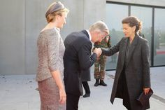 Belgium's Queen Mathilde and King Philippe greet Princess Lalla Meryem of Morocco as she arrives for a ceremony to commemorate the 100th anniversary of the 'Battle of Ypres' during the WWI in Nieuwpoort, 28.10.2014.