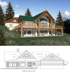 #Hillside #Houseplan 87091 has 3284 square feet of living space, 2 bedrooms and 2.5 bathrooms. The daylight basement plan includes a wet bar and access to the covered porch. The main floor includes the master suite, office, kitchen, dining and great room with access to the front and back covered porches and the open deck areas.