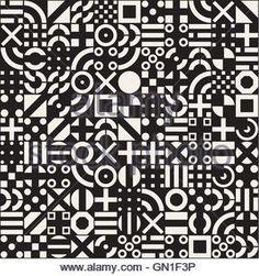 ... Vector Seamless White Geometric Primitive Square Blocks Grid Pattern on Black Background - Stock Photo