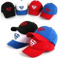 Children Kids Boys Girls Baseball Cap WB DC Comics Superman S Logo Snapback Hats #hellobincom #BaseballCapHats