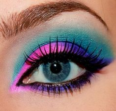 beauty #eye #makeup #pink #purple #teal #turquoise