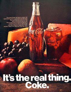 Neue Haas Grotesk (as Helvetica) in a Coca-Cola Ad Coca Cola Vintage, Coca Cola Can, World Of Coca Cola, Coca Cola Bottles, Vintage Ads, Retro Ads, Retro Food, Poster Vintage, Vintage Stuff