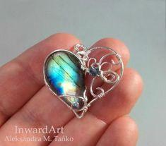 Wire wrapped Labradorite heart pendant InwardArt by InwardArt