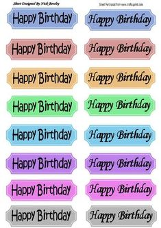 Funky Elegant coloured birthday tags in black script on Craftsuprint - Add To Basket!
