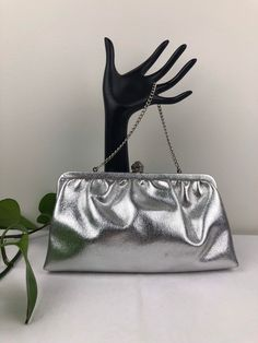 Vintage Silver Clutch Purse Silver Clutch, Vintage Purses, Clutch Purse, Vintage Silver, Chain, Trending Outfits, Unique Jewelry, Handmade Gifts, Bags
