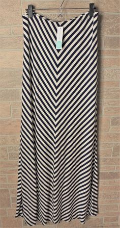 Stitch Fix Market & Spruce Navy Blue White Chloe Chevron Stripe Maxi Skirt Large #MarketSpruce #Maxi