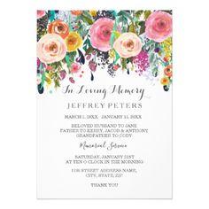 #In loving memory Memorial Service invite Floral - #flower #invitation #floral #invitations