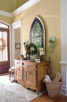 Antique French Buffet/Stained Glass