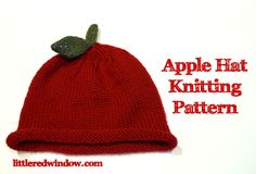 Apple Hat Knitting Pattern, make a cute and easy Apple Hat for your little one with easy instructions from Little Red Window
