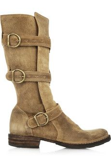 Eternity buckled suede boots