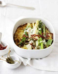 Spargel-Kartoffel-Gratin mit Büffel-Mozzarella