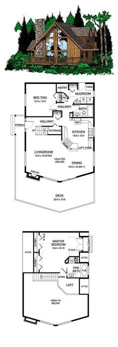 COOL House Plan ID: chp-25246 | Total living area: 1561 sq ft, 2 bedrooms & 2 bathrooms. #cabinplan
