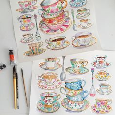 Completed custom watercolor teacups and spoons ☕️#espresso #coffee #tea #teacup #watercolor #vintagechina #illustration #kitchen #coffeeart #brewingcoffee #café #thé #aquarelle
