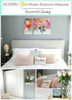 Modern Glam Master Bedroom Makeover Pin - Beauteeful Living
