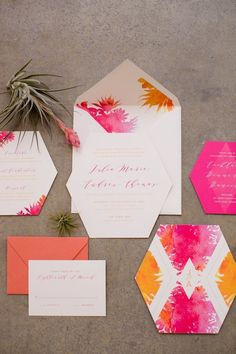 Geometric pink and orange watercolour wedding invitation | Jessica Lauren Photography via 100 Layer Cake