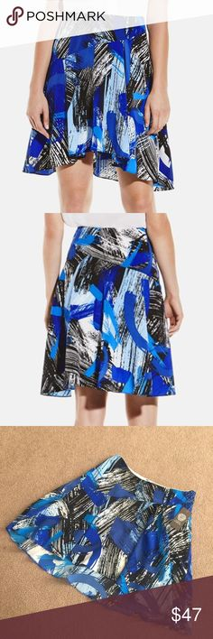 Vince Camuto Bold Brushstrokes Asymmetrical Skirt Vince Camuto 'Bold Brushstrokes' Asymmetrical Flounce Skirt Bright Blue 6 Vince camuto's artful fit-and-flare skirt is the standout addition to your wardrobe. The vibrant brush-stroke print looks chic with ankle-strap heels. Description Brand:Vince Camuto Condition: New With Tags Size : 6 Color : Bright Blue Art Inspired Style : A-Line Imported.Hidden side zipper with hook-and-eye closure.Allover abstract print.A-line silhouette.Lined.Hits…