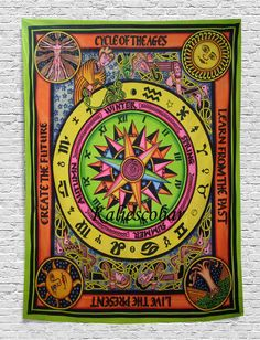 Cycle Of The Ages Hippie Boho Beach Sheet Wall Hanging Cotton Tapestry Decorat Mandala Print, Mandala Tapestry, Bohemian Bedspread, Bohemian Tapestry, Blue Dream Catcher, Beach Wall Decor, Indian Mandala, Popular Art, Tapestry Wall Hanging