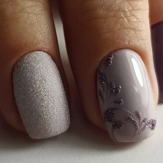 Brilliant simple elegant precious gorgeous glitter decorated light puple nail art for winter holiday 20162017