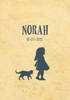 Geboortekaartje Norah - Pimpelpluis - https://www.facebook.com/pages/Pimpelpluis/188675421305550?ref=hl (# meisje - dieren - poes - kat - vintage - retro - silhouet - lief - origineel)