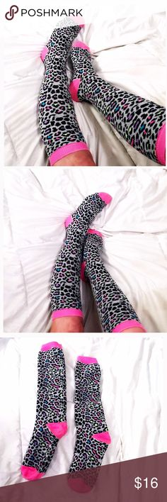 ⚡️ Hot Pink Leopard knee high Socks ⚡️ Hot Pink Leopard Socks  Knee high  90s Style  Great condition Hot Topic Accessories Hosiery & Socks