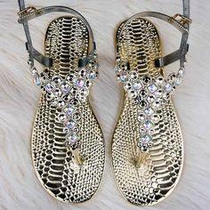 Rhinestone Embellished Thong Sandals