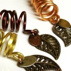 Dreadlock Beads - Set of 3 - Natural Metal Collection with Leaves