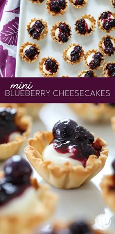 Mini Blueberry Cheesecakes made with Phyllo Cups Mini Desserts, Just Desserts, Dessert Recipes, Easter Recipes, Wedding Desserts, Baking Recipes, Oreo Dessert, Dessert Cups, Rib Recipes