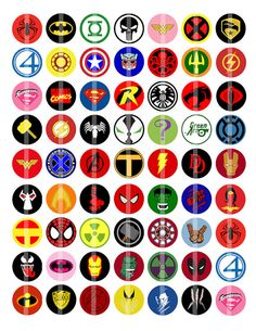 Super Hero Logos 60 1 Bottle Cap Images by MimosyMonerias