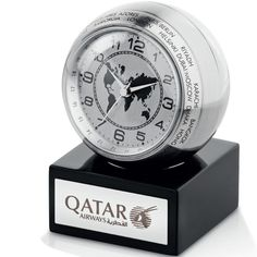 Globetrotter World Clock includes button cell battery. World Clock, Metal Clock, Metal Desks, Button Cell, Desk Clock, Brushed Metal, Desk Accessories, Corporate Gifts, Laser Engraving
