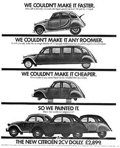 Citroën Publicity GB 2CV Dolly newspaper ads