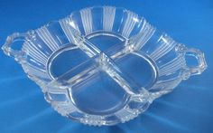 Art Deco Glass Relish Dishes4 Sections Heisey Style by cerritorose
