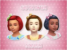 """georgiaglm: """" ⏩ Child Bob Bow Hair ⏪ ⏩ I converted this hair from Toddler Stuff for your child sims and made it base game compatible! ⏩ There are 9 colours included and all textures and mesh are by. Sims Four, Sims 4 Mm Cc, Sims 4 Children, 4 Kids, Children Hair, Tumblr Sims 4, Sims 4 Toddler, Toddler Stuff, Kids Hair Bows"""