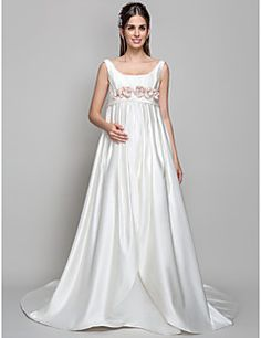 A-line Square Court Train Satin Maternity Wedding Dress. Get wonderful discounts up to 70% Off at Light in the box using Coupons.