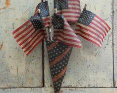 Primitive Americana Flag Cone Stars and Stripes Folk Art Decor