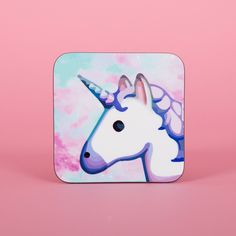 Cute Unicorn Emoji Space Rainbow Coaster Cute Coaster 2s002a ($3.15) ❤ liked on Polyvore featuring home, kitchen & dining, bar tools, coasters, drink & barware, drinkware, home & living, silver, square coasters and beverage coaster