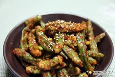 Korean Dishes, Korean Food, Asian Recipes, Healthy Recipes, Ethnic Recipes, K Food, Kung Pao Chicken, Chicken Wings, Green Beans