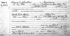 marriage license docket -  Henry C. Schuster and Sarah E. W. Steele - my great grand parents in 1900 - 1 California Avenue, and 130 Robinson Street, Allegheny City, Pittsburgh, PA
