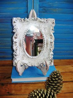 Vintage Upcycled  Mirror & stand by VintageChichibean on Etsy, $23.00