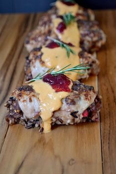 Stuffed Turkey Cutlets with Pumpkin Brie Sauce and Cranberry Chutney (recipes to paleo-ize) #notpaleo