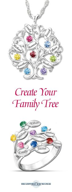 Celebrate your family tree with these fine jewelry gifts (perfect for Christmas). Which one best symbolizes your family: the pendant or the ring? Both are Bradford Exchange exclusives and backed by th Kids Jewelry Box, Jewelry Gifts, Fine Jewelry, Jewelry Making, Best Gifts For Mom, Mom Gifts, Personalized Jewelry, Personalised Gifts, Cute Gifts