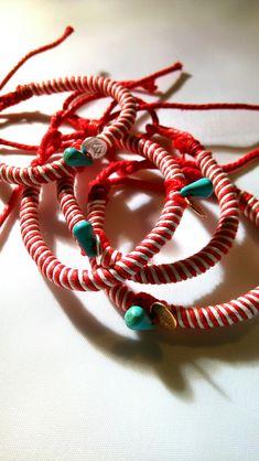 March bracelet by ArTexnima Textile Jewelry, Jewellery, Baba Marta, Bulgarian, Jewelry Patterns, Handmade Bracelets, Fiber, March, Beads